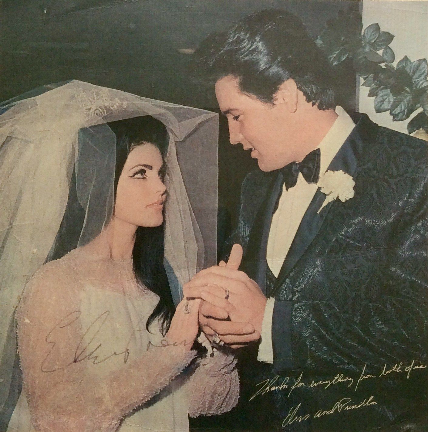 Signed Elvis Presley Wedding Photo